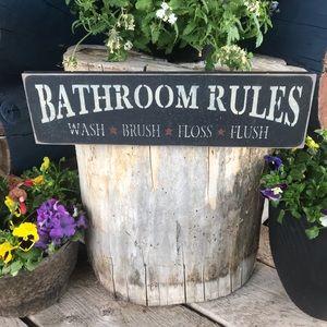 Bathroom Rules Sign Black